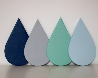 Set of Four Wooden Raindrop Coasters