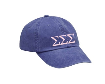 TriSigma Sigma Sigma Sigma Letters Hat Choose Your Colors Sorority Hat