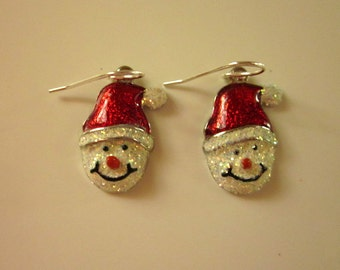 Sparkle Snowman Charm Earrings - #243