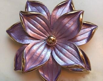 Vintage brushed metallic purple flower 3d brooch