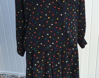 Vintage Christian Dior black silk multi colored polka dot skirt and blouse