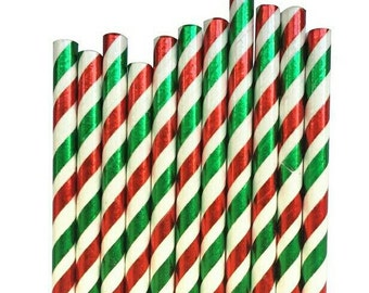 Red, Green and White Foil Paper Straws