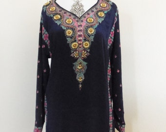 Embellished tunic in French Crepe with gold beads long sleeves Dark navy blue size 3xl 45 inches chest
