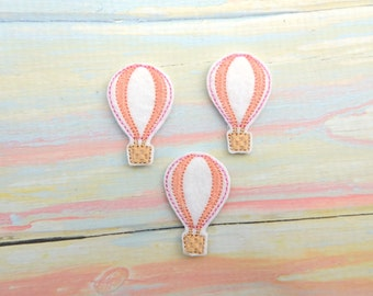 Hot air balloon felt - Balloon feltie - Balloon bow center - Stitched balloon - Feltie  - Outdoor felties - Balloon hair bow center