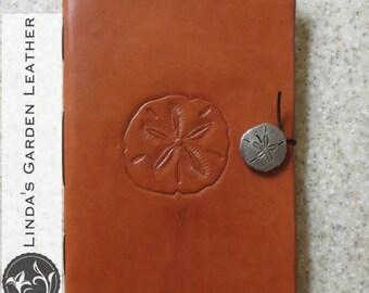 Handmade Leather Sand Dollar Journal or Sketchbook