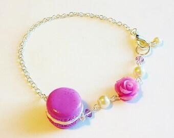 French Macaron Bracelet - Polymer Clay Food Purple Macaron Charm - Miniature Food Jewelry Macaroon Bracelet - Macaron Bracelet