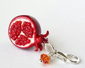 Pomegranate Charm - Polymer Clay Food Charm - Miniature Food Jewelry - Pomegranate Jewelry - Miniature Pomegranate Charm -