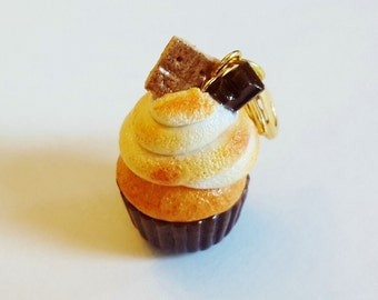 Polymer Clay Smores Cupcake Charm - Polymer Clay Food Jewelry Cupcake - Miniature Food Jewelry - Smores Cupcake Necklace - S'mores Jewelry