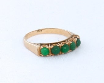 Vintage Gold Jade Ring Size 4 from the 1960s