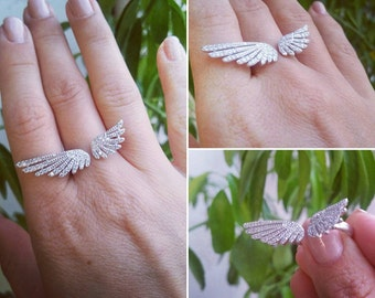 Beautiful Angel Wings CZ Pure 925 Sterling Silver Ring sizes 7, 8 Boho Jewelry, Bohemian Ring, Stacking Ring