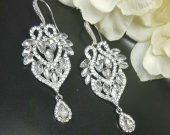 Wedding Jewelry Bridal Earrings, Crystal Wedding Earrings, Bridesmaid Earrings, Dangle Earrings Cubic Zirconia Tear drop Earring