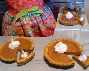Pumpkin & Pecan Pie fits American girl dolls, 18 inch Doll Pie, AG Doll Food, AG Doll Pie, Pie for Dolls