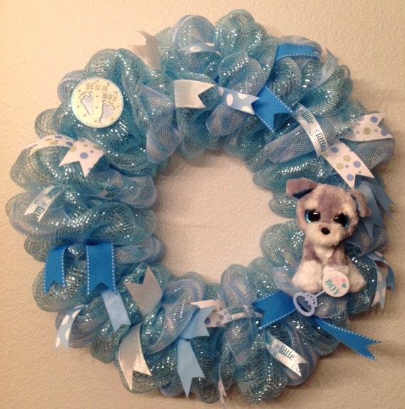 Its a boy wreath deco mesh door hanger decoration 26 for Baby boy door decoration