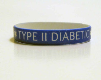 TYPE II DIABETIC Medical Alert Silicone Wristband Adult Size Blue Silicone Rubber Medical Alert Bracelet