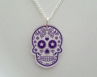 Sugar skull plastic acrylic pendant necklace purple