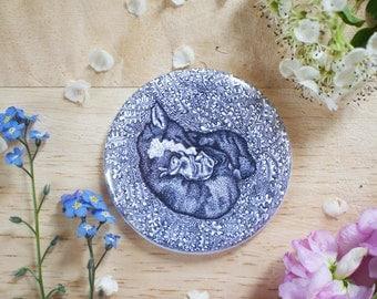 Fox and Rabbit Pocket Mirror