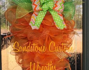 Carrot Wreath, Deco Mesh wreath, Spring wreath, Easter Wreath, Wreath