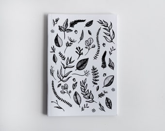 Black and White Leaf Pattern, Colour it in Yourself, A6 Notebook, Blank Inside