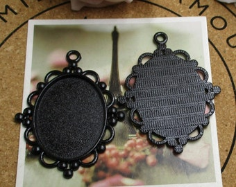 5pcs 30x40mm Oval Cameo Cabochon Base Setting Pendants,Blank Black Findings Trays-b2079