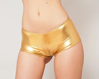 Metallic Spandex Hot pants. Metallic gold booty shorts. Low rise Shorts. Dancewear, Pole dancer shorts. Cheeky shorts, Custom size.