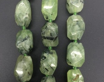 Faceted Natural Prehnite Nugget bead,faceted slab Green Prehnite Gemstone pendants necklaces jewelry Supplies 12-15x18-23mm