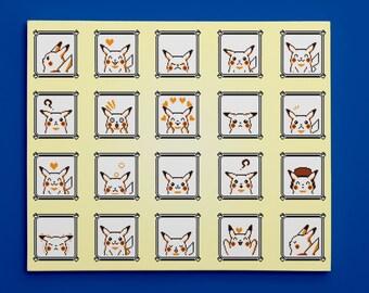 """Pokemon Yellow, Pikachu Faces (11"""" x 14"""") - Canvas Wrap Print"""