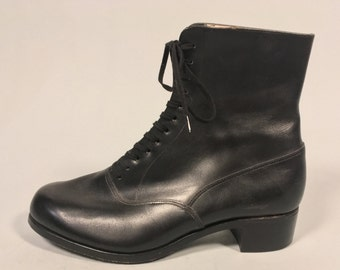 "Vintage 1950s Boots | Black Leather ""Bally"" Lace Up Ankle Boots 