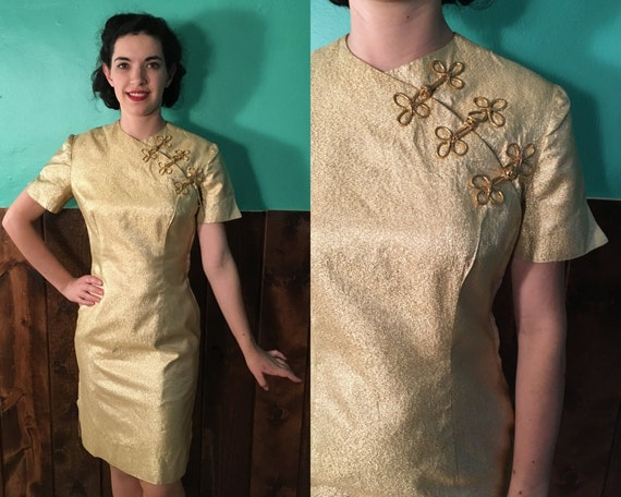 Vintage 1950s Dress Gold Lamé Cheongsam Style 50s 1960s 60s