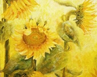Wall Art Canvas Sunflower Decor, Sunflower Art, Sunflower Painting, Sunflower Canvas, Sunflower Picture, Painting Abstract, Flower Painting