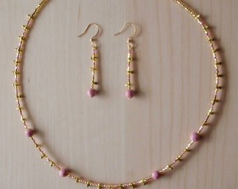 Pink and gold earrings and necklace set