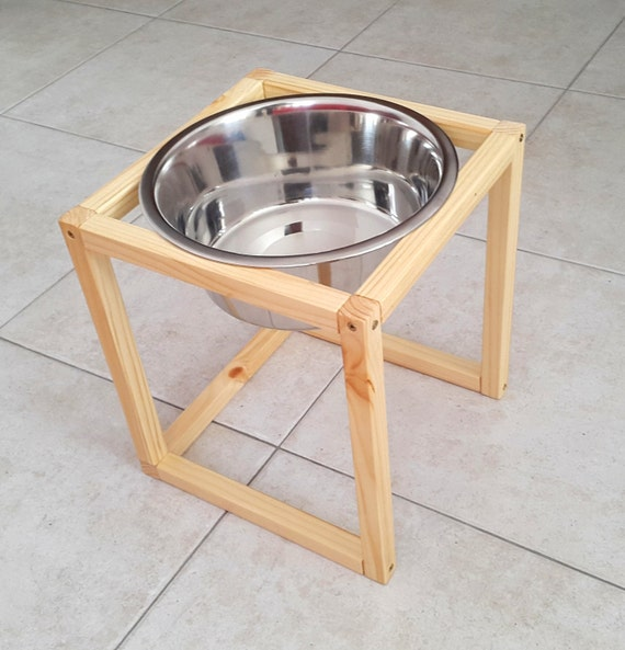 Wood Raised Dog Feeder Dog feeding station Pet Feeder by ...
