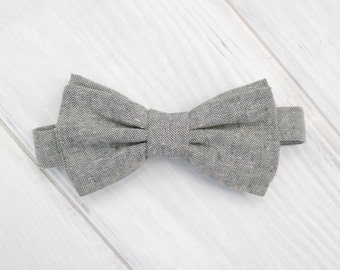 Dog Bow Tie, Gray Oxford Adjustable Bow Tie