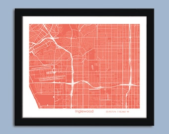 Inglewood map, Inglewood city map art, Inglewood wall art poster, Inglewood decorative map