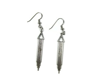 Silver Plated Brass Antiqued Dangle Earrings