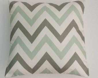 "Large Chevron ZigZag Pale Aqua Green, Grey and White Geometric Cushion Cover 16"" / 40cm"