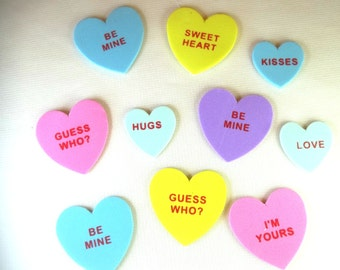 6 Message heart magnets.  Great for decorating.