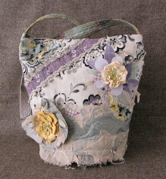 Romantic Bag, Shabby Chic Tote, Shoulder Handbag, Victorian Elegant, OOAK, FREE SHIPPING, Summer Tote, Special Ocassion Bag