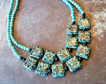 Teal and Black Damask Two Strand Necklace ~ Teal and Black Double Strand Necklace ~ Damask Necklace ~ Mother of the Bride Jewelry ~ Bridal