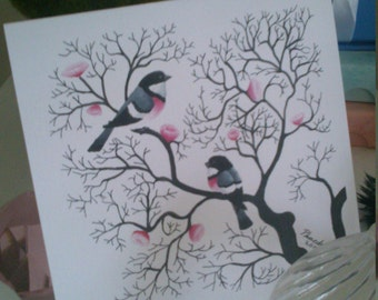 cherry blossom bird card