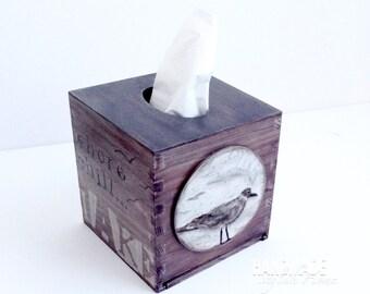 Handmade nautical tissue box etsy - Beach themed tissue box cover ...