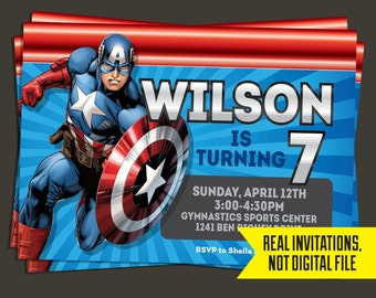Captain America Invitation - Captain America Birthday Invitation