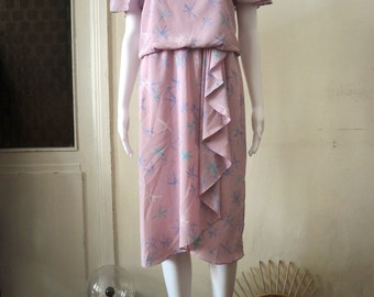 Vintage 80s candy dress with cap sleeves and ruffles