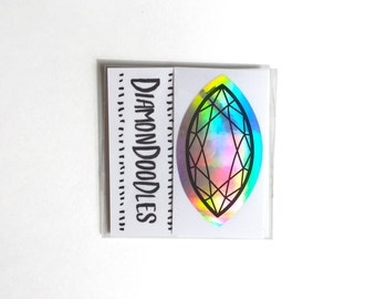 Holographic Marquise Cut Diamond Sticker Pack