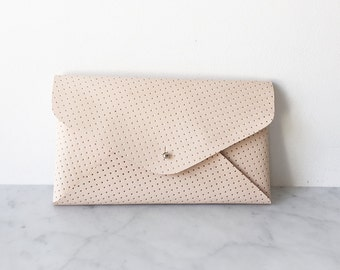 Clutch / Holditall, color: dotted, real leather