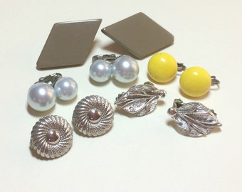 Lot of 5 pairs of vintage earrings, vintage earring lot, clip earrings, mixed clip earring lot, craft lot 1950s 1960s E57