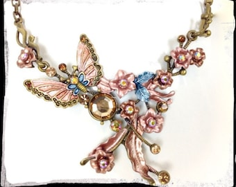 80's Vintage Necklace - Antiqued Bronze Chestplate Necklace - Whymsical Butterfly