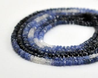 """Natural Sapphire, Faceted Rondelle, Shaded, Blue, 2.5-3mm, 8"""" strand"""
