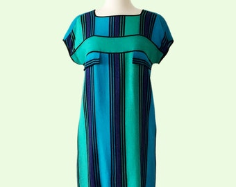 Vintage Mod Cotton Striped Dress in Green and Blue Hues. Size XS (1960s)