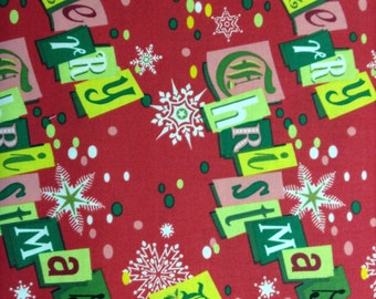Retro Christmas 100% cotton fabric, sold by the yard