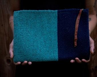 Blue Woven Clutch